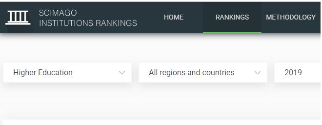 Scimago Institutions Rankings 2019